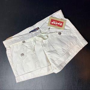 LEVI'S White Roll Cuff Short Fold Over Waist 3